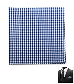 Ox & Bull Men's Blue Gingham Cotton Pocket Square