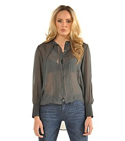 Standards & Practices Gabrielle Pintuck And Drawstring Blouse