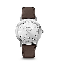Bulova® Men's Classic Gray Dial Strap Watch