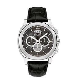 Bulova® Men's Classic Black Dial Silvertone Watch