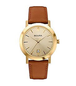 Bulova® Men's Champagne Dial Strap Watch