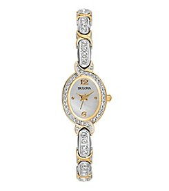 Bulova® Women's Two Tone Crystal Bracelet Watch