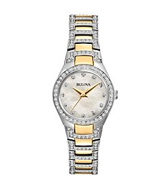 Bulova® Women's Mother Of Pearl Crystal Bracelet Watch