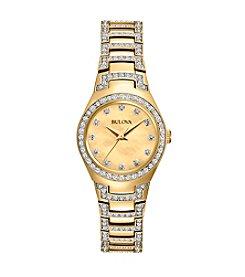 Bulova® Women's Mother Of Pearl Crystal Bracelet Watch