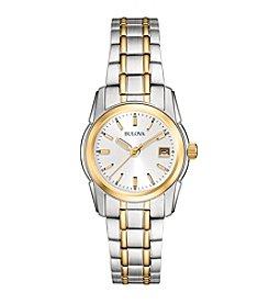Bulova® Women's Two Tone White Dial Bracelet Watch