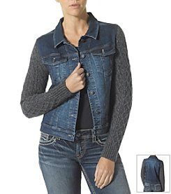 Silver Jeans Co. Denim Jacket With Sweater Sleeves
