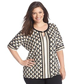 Notations® Plus Size Printed Keyhole Knit Top