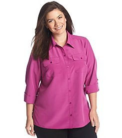 Notations® Plus Size Solid Button Up Blouse