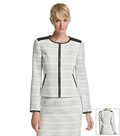 Calvin Klein Faux Leather Trim Boucle Jacket