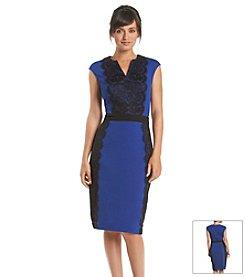 Julian Taylor Knit Lace Dress