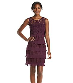 S.L. Fashions Pleated Lace Sheath Dress
