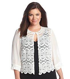 R&M Richards® Plus Size Lace Front Sequin Shrug