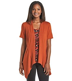 Notations® Abstract Print Layered Look Top