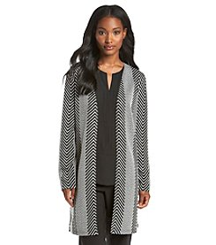 Notations® Chevron Print Long Knit Cardigan