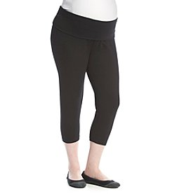 Three Seasons Maternity™ Plus Size Solid Capri Fold Over Leggings