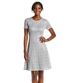 S.L. Fashions Glitter Lace Fit And Flare Dress