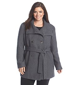 Calvin Klein Plus Size Double-Breasted Basketweave Coat