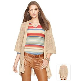 Lauren Jeans Co.® Mesh-Knit Fringed Cardigan