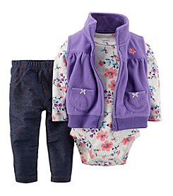 Carter's® Baby Girls' 3-24M Three-Piece Vest Outfit Set