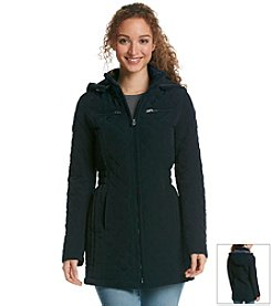 Laundry by Design Three Quarter Length Hooded Quilt Coat