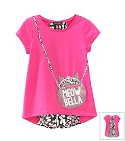 Jessica Simpson Girls' 7-16 Nora Cat Purse Tee