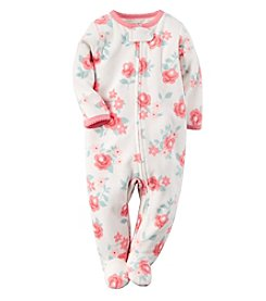 Carter's® Baby Girls' 3-24 Month Flower Fleece Snap-Up Sleep & Play
