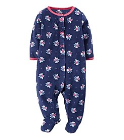 Carter's® Baby Girls' Newborn-9M Flower Fleece Snap-Up Sleep & Play Footie
