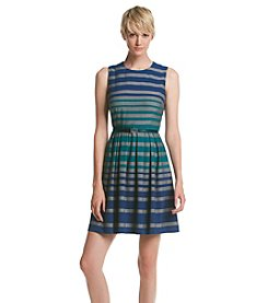 Calvin Klein Striped Fit And Flare Dress