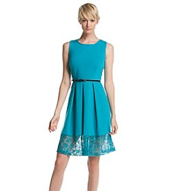 Calvin Klein Lace Hem Fit And Flare Dress