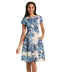 Adrianna Papell® Cap Sleeve Floral Fit And Flare Dress