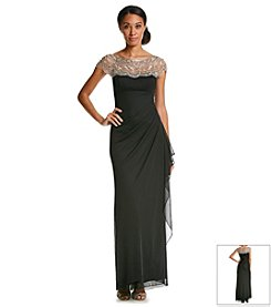 Xscape Bead Illusion Jersey Gown