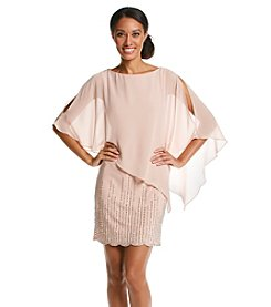 Xscape Beaded Chiffon Cocktail Poncho Dress