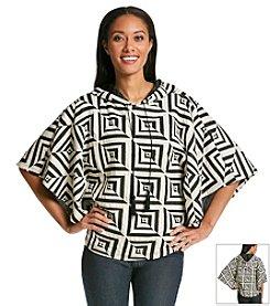 Oneworld® Geometric Hooded Poncho