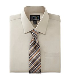 Alexander Julian® Men's Regular Fit Solid Dress Shirt With Tie