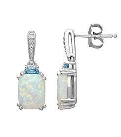 Lab Created Opal Earrings In Sterling Silver