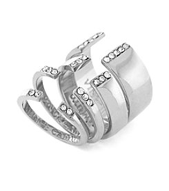 Vince Camuto™ Silvertone Pave Open Ring Set