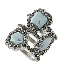 Jessica Simpson Silvertone Stone Encrusted Stack Ring