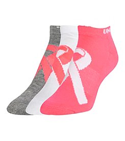 Under Armour® 3 Pack Power In Pink No Show Socks