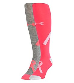 Under Armour® 2 Pack Power In Pink Over The Calf Socks