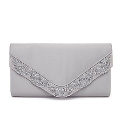 La Regale® Satin Beaded Scallop Flap Clutch