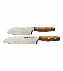 Rachael Ray® Cucina Cutlery 2-pc. Japanese Stainless Steel Santoku Knife Set with Acacia Handles