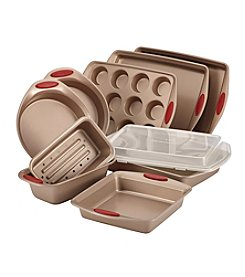 Rachael Ray® 10-pc. Brown Cucina Nonstick Bakeware Set with Red Silicone Handles