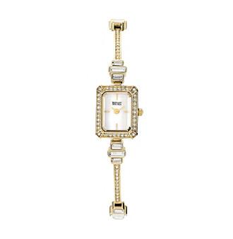 Badgley Mischka® Goldtone Baguette Swarovski Crystal Accented Bracelet Watch