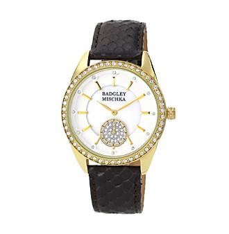 Badgley Mischka® Goldtone Swarovski Crystal Accented Snakeskin Black Leather Watch