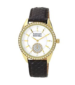 Badgley Mischka® Goldtone Swarovski Crystal Accented Snakeskin Black Leather Watch