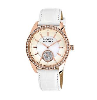 Badgley Mischka® Rose Goldtone Swarovski Crystal Accented Snakeskin White Leather Watch