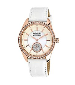 Badgley Mischka® Rose Goldtone Swarovski Crystal Accented Snakeskin White Leather Watch
