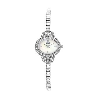 Badgley Mischka® Silvertone Baguette Swarovski Crystal Accented Bangle Watch