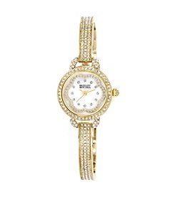 Badgley Mischka® Goldtone Swarovski Crystal Accented Bangle Watch with Floral Dial