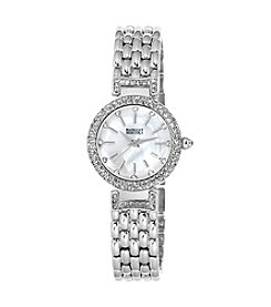 Badgley Mischka® Silvertone Swarovski Crystal Accented Bracelet Watch